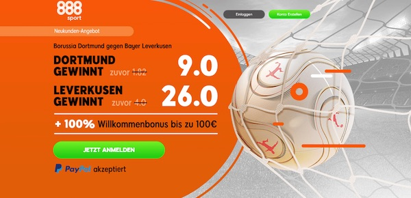 888sport: 9.0 auf BVB, 26.0 auf Leverkusen