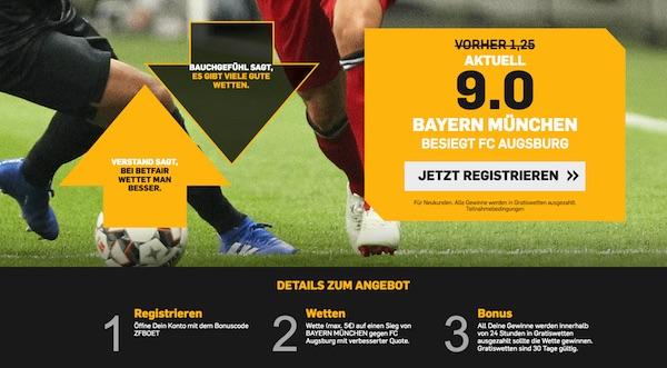 Betfair Quoten Angebot zu Augbsurg vs. B. München