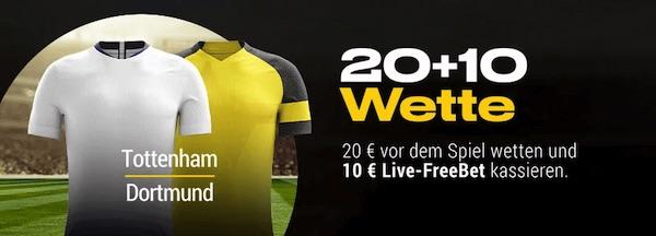Spurs-BVB bei Bwin: 20€ wetten, 10€ Freebet erhalten