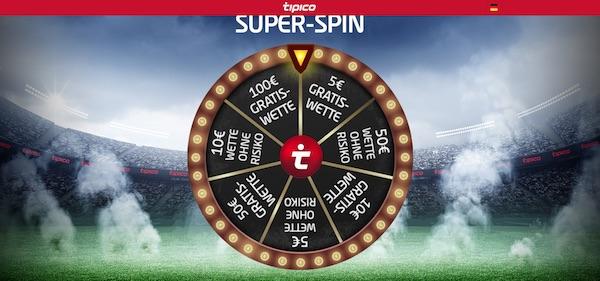 Beim Tipico Super Spin warten Top-Gewinne