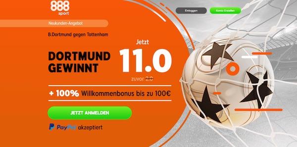 Verbesserte 888sport Quoten zu BVB-Tottenham
