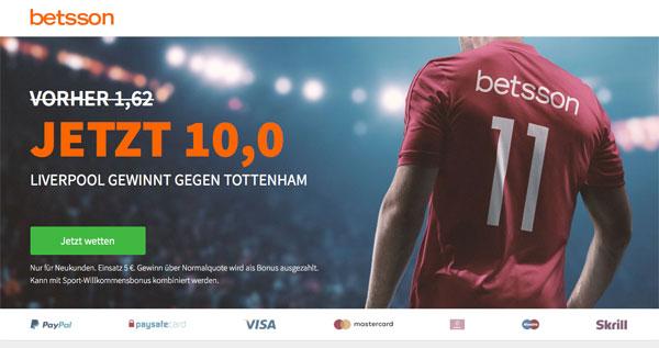 Betsson Wette Liverpool Tottenham