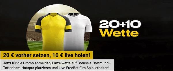BVB-Spurs: 10€ Live Wette bei Bwin schnappen!