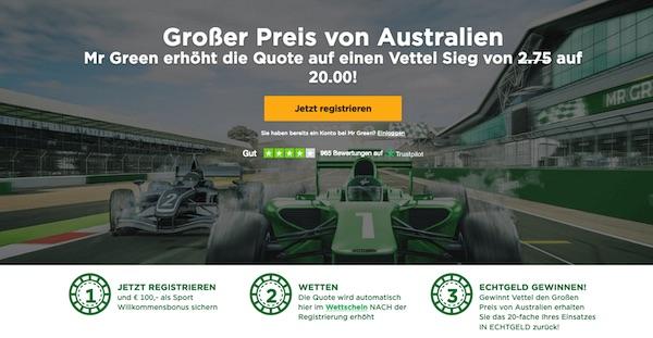 Top Quote auf Vettel zum F1 Auftakt