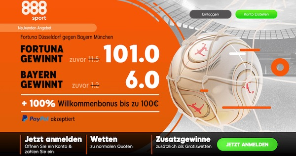 888sport mit Super Quoten zu Düsseldorf-Bayern