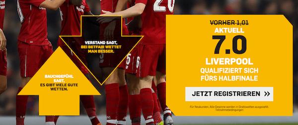 Betfair Quotenboost Liverpool Champions League