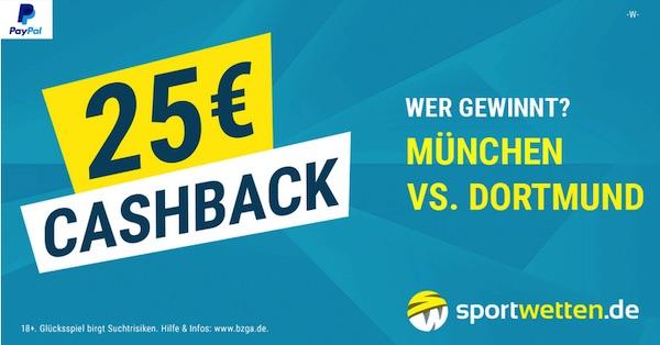 FCB - BVB: Hol dir bis zu 25€ von sportwetten.de