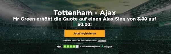 Quoten erhöhung Ajax Mr Green
