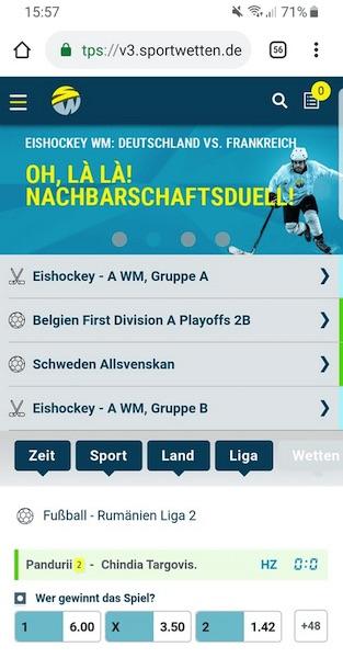 Mobile Ansicht der sportwetten.de App