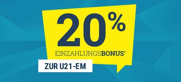 20% Einzahlungspromo von sportwetten.de zur U21 EM