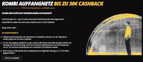 Versichere deine Kombiwette bis 30€!