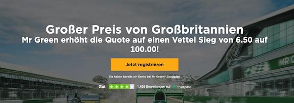 Quote 100.0 auf Vettel in Silverstone (Mr. Green)