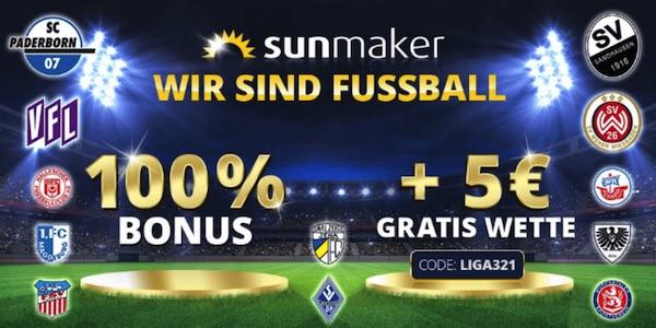Sunmaker 100% Guthaben und 5€ Freebet