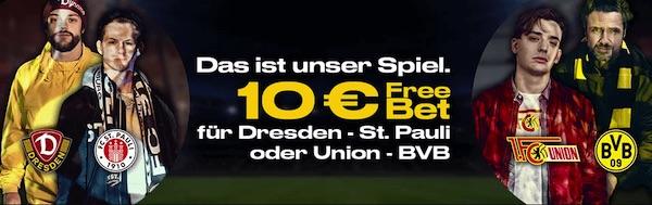 Bwin: 10€ Freiwette zu Dresden-St.Pauli, Union-BVB