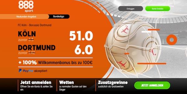 888sport: 51.0 auf Köln, 6.0 auf den BVB