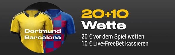 Bwin 20 + 10 Wette Borussia Dortmund - FC Barcelona