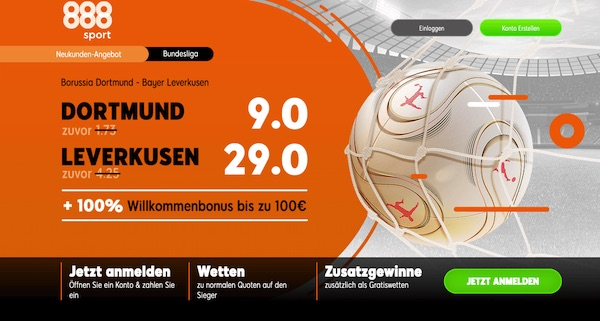 Quotenboost zu Dortmund-Leverkusen bei 888sport