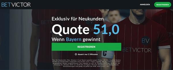 BetVictor Olympiakos Piräus Bayern München Quotenboost