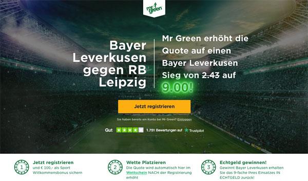 Mr Green Wette Leverkusen Leipzig