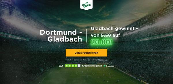 Mr. Green Wette Gladbach Dortmund