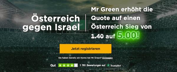 Erhöhte Quote von 5.0 auf Österreih gegen Israel bei Mr. Green