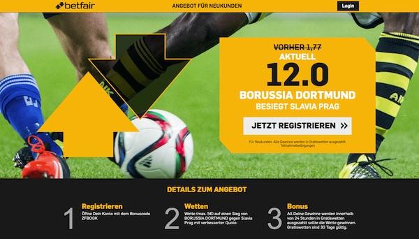Betfair: Erhöhte Quote zu Slavia Prag - Dortmund