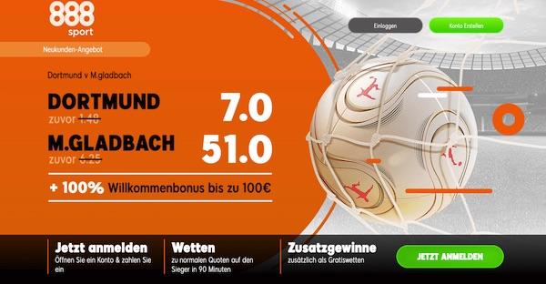 888sport Quotenboost: 7.0 Dortmund, 51.0 Gladbach