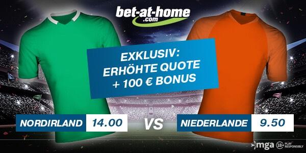 Bet-at-home erhöht Quoten in EM-Quali-Duell Nordirland-Niederlande