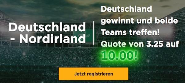 Mr Green Quoten Promo Deutschland gegen Nordirland