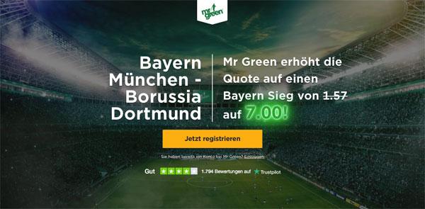 Mr. Green Wette Bayern Dortmund Spiel
