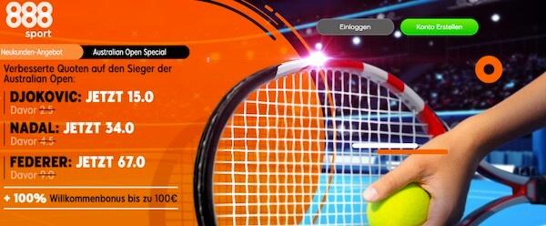 888sport mit verbesserter Australian Open Quote auf Djokovic, Nadal und Federer