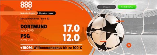 888sport Borussia Dortmund Paris SG erhöhte Quoten