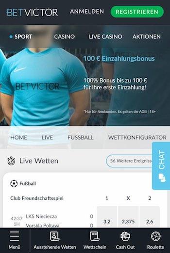 BetVictor Startseite in der WebApp