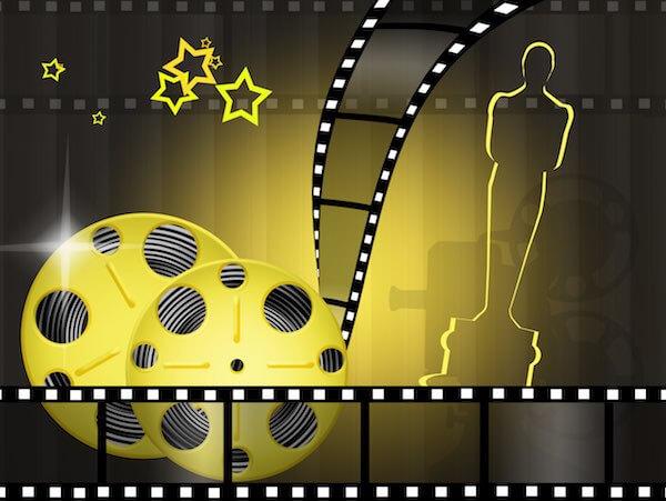 Oscars Montage mit Trophäe und Filmrolle
