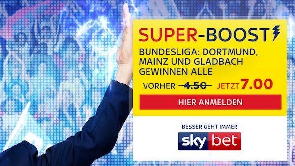 Sky Bet Super Boost auf Sieg von Dortmund, Gladbach und Mainz
