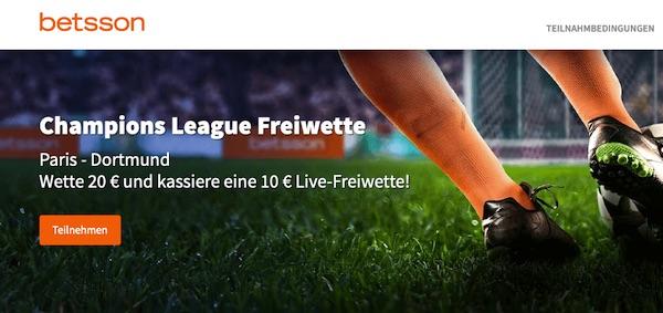 Betsson PSG BVB Wetten