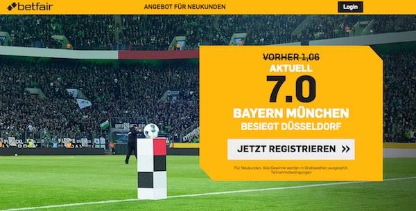 Betfair hebt Bayern-Quote gegen Düsseldorf auf 7.0