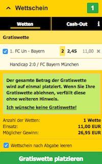 Screenshot eines Interwetten Wettscheins mit der Bundesliga Gratiswette