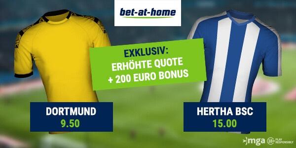Bet-at-home Quotenboost auf die Bundesliga-Partie Borussia Dortmund gegen Hertha BSC