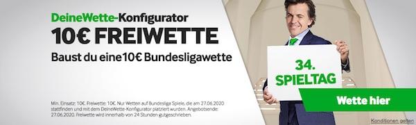 Betway Freebet für Konfigurator Wette am 34. Bundesliga Spieltag