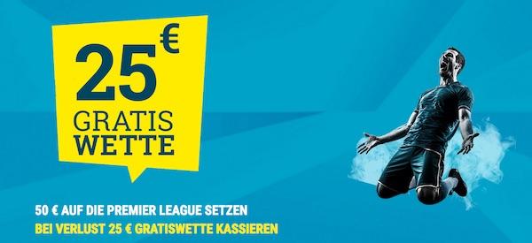 sportwetten.de Freebet im Wert von 25 Euro für eine verlorene Premier League Wette