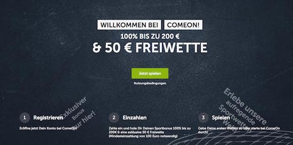 50 Euro Comeon Freebet als Goodie für erste Einzahlung