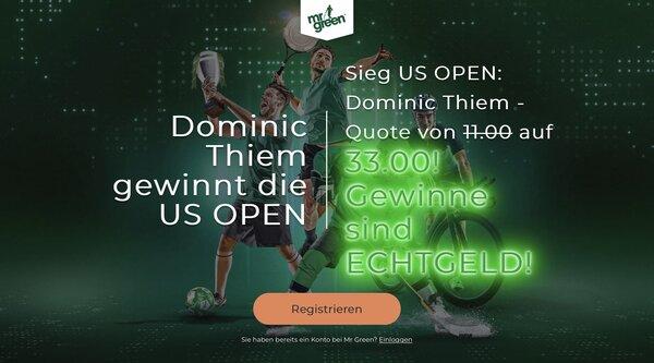Mr Green US Open Quotenboost Thiem