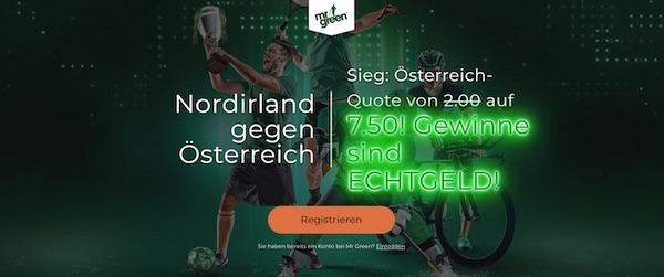 Mr Green Nordirland Österreich erhöhte Quote Sieg wetten