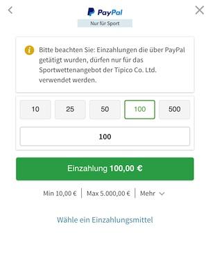 Einzahlung mit Paypal bei Tipico