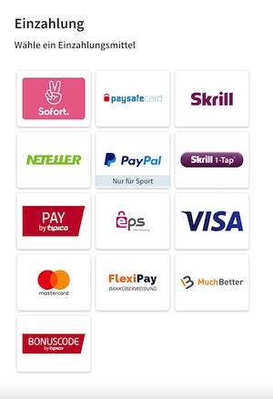 Tipico Methoden der Einzahlung