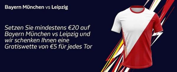 William Hill Freebet für jedes Tor bei Bayern vs. Leipzig