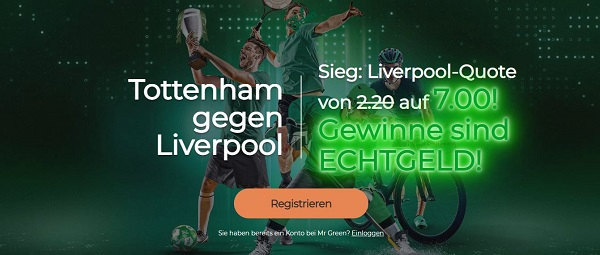 mr green quotenboost odds boost wette tottenham liverpool