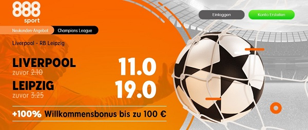 liverpool leipzig champions league 888sport odds boost angebot wette quotenboost