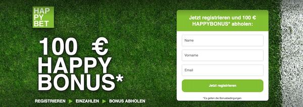 100 Euro Happybet Neukundenbonus